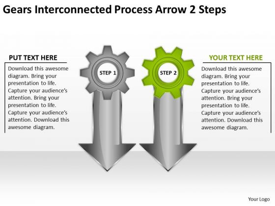 Gears Interconnected Process Arrow 2 Steps Ppt Business Plan PowerPoint Slides