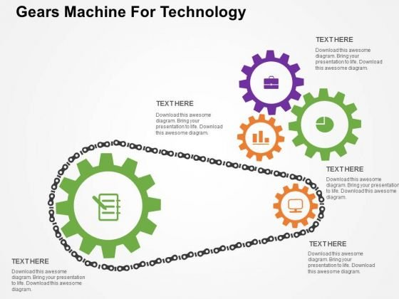 Gears Machine For Technology PowerPoint Template