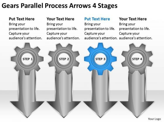 Gears Parallel Process Arrows 4 Stages Business Plan PowerPoint Slides