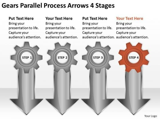 Gears Parallel Process Arrows 4 Stages Ppt Business Plan Outlines PowerPoint Slides