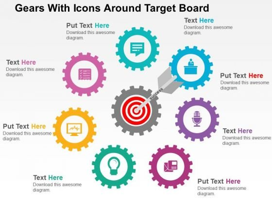 Gears With Icons Around Target Board PowerPoint Templates