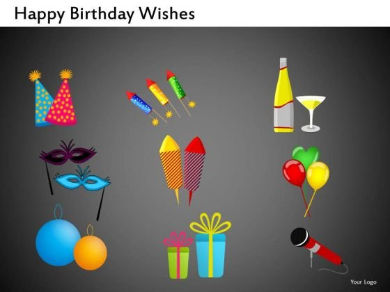 Gifts Fireworks Champagne PowerPoint Clipart Graphics Slides