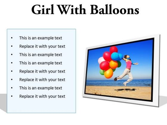 Girl With Balloons Holidays PowerPoint PowerPoint Presentation Slides F