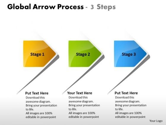Global Arrow Process 3 Steps Flowchart Examples PowerPoint Templates