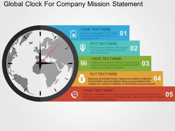 global clock for company mission statement powerpoint template, Presentation templates