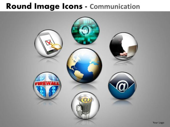 Global Communication Round Icons PowerPoint Slides And Ppt Templates