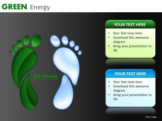 Go Green Footprints PowerPoint Ppt Templates