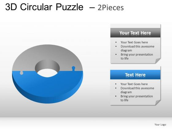 Goal 3d Circular Puzzle 2 Pieces PowerPoint Slides And Ppt Diagram Templates