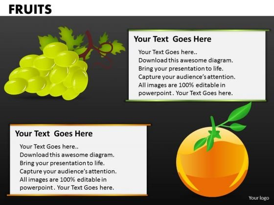 Grapes And Oranges Fruits PowerPoint Templates