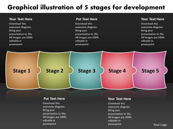 Graphical Illustration Of 5 Stages For Development Flowchart Examples PowerPoint Templates