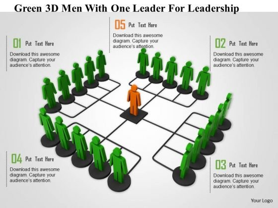 Green 3d Men With One Leader For Leadership