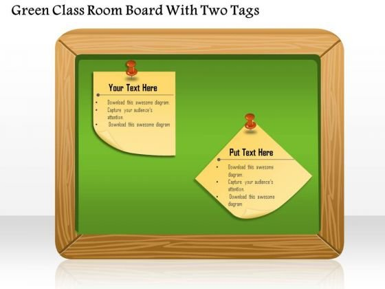 Green Class Room Board With Two Tags Presentation Template