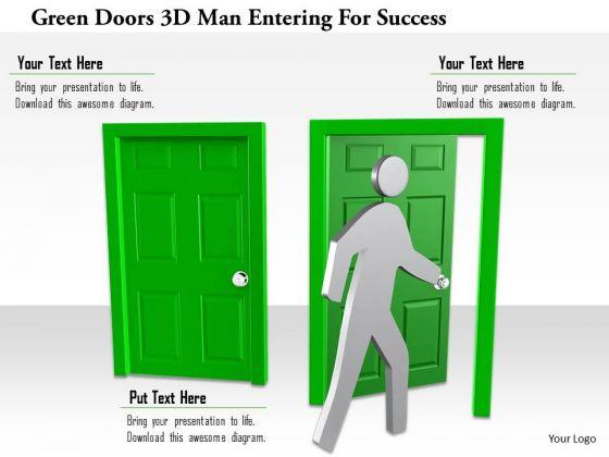 Green Doors 3d Man Entering For Success