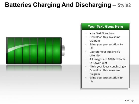 Green Energy Batteries Charging And Discharging PowerPoint Slides And Ppt Diagram Templates