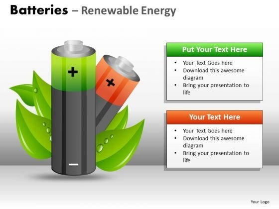 Green Energy Batteries PowerPoint Ppt Templates