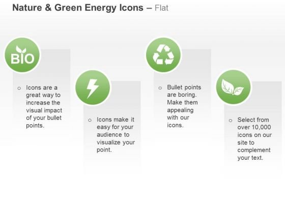 Green Energy Icons With Text Boxes Ppt Slides Graphics