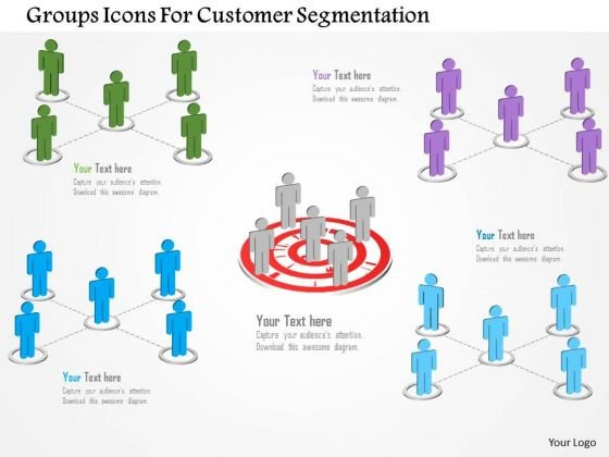 Groups Icons For Customer Segmentation PowerPoint Template