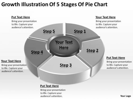 Growth Illustration Of 5 Stages Pie Chart Ppt Business Plan PowerPoint Slides