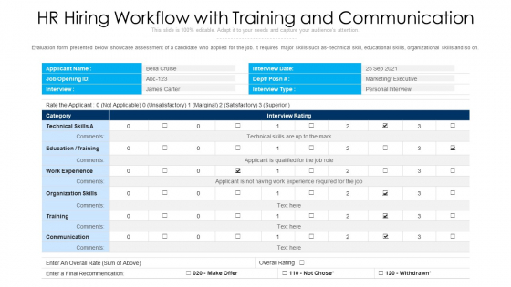 HR Hiring Workflow With Training And Communication Ppt Pictures Master Slide PDF