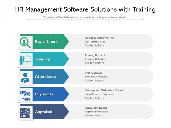 HR Management Software Solutions With Training Ppt PowerPoint Presentation Infographics Pictures PDF
