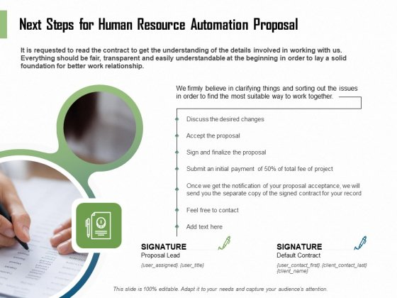 HR Process Automation Next Steps For Human Resource Automation Proposal Graphics PDF