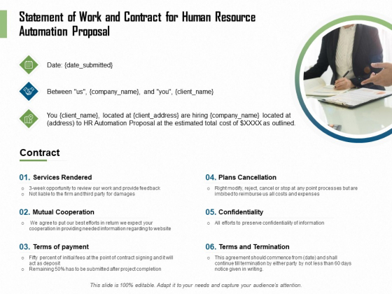 HR Process Automation Statement Of Work And Contract For Human Resource Automation Proposal Demonstration PDF