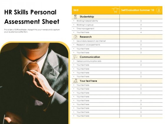 HR Skills Personal Assessment Sheet Ppt PowerPoint Presentation File Infographics PDF