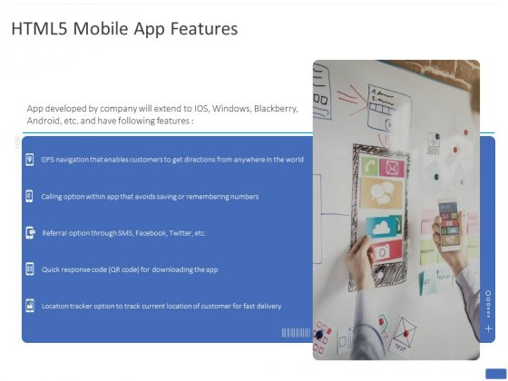 HTML5 Mobile App Features Ppt PowerPoint Presentation Icon Example PDF