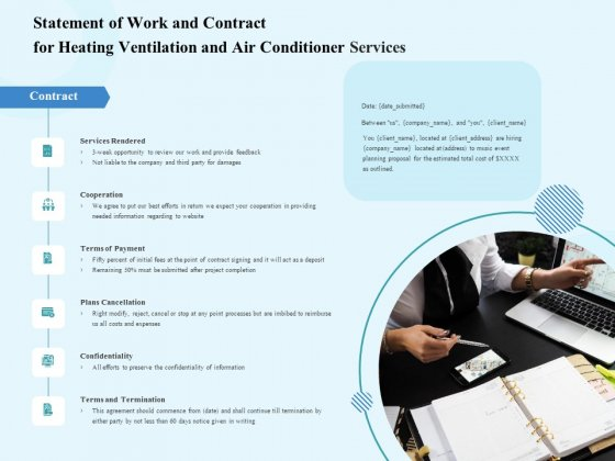 HVAC Statement Of Work And Contract For Heating Ventilation And Air Conditioner Services Rules PDF
