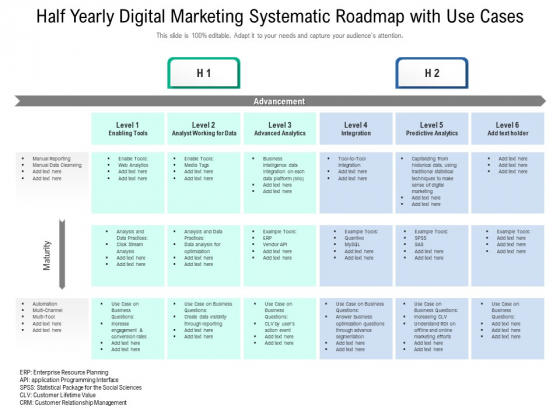 Half Yearly Digital Marketing Systematic Roadmap With Use Cases Brochure