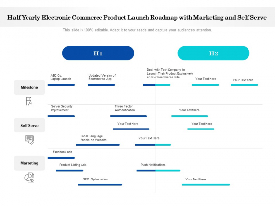 Half Yearly Electronic Commerce Product Launch Roadmap With Marketing And Self Serve Summary