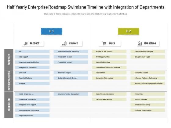 Half_Yearly_Enterprise_Roadmap_Swimlane_Timeline_With_Integration_Of_Departments_Sample_Slide_1