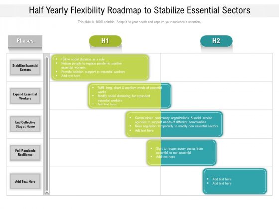 Half Yearly Flexibility Roadmap To Stabilize Essential Sectors Icons