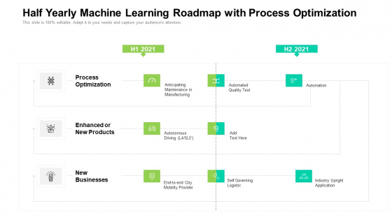 Half Yearly Machine Learning Roadmap With Process Optimization Icons