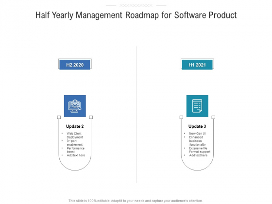 Half Yearly Management Roadmap For Software Product Portrait