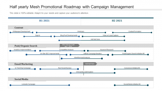 Half Yearly Mesh Promotional Roadmap With Campaign Management Formats