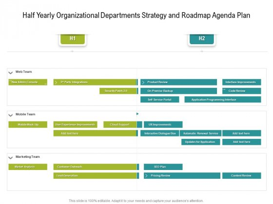 Half Yearly Organizational Departments Strategy And Roadmap Agenda Plan Portrait