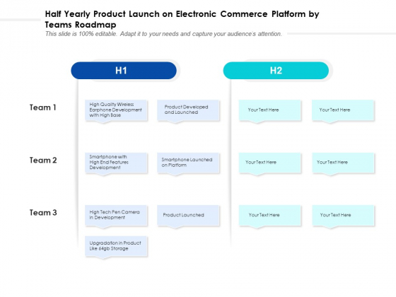 Half Yearly Product Launch On Electronic Commerce Platform By Teams Roadmap Brochure