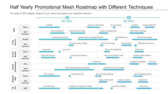 Half Yearly Promotional Mesh Roadmap With Different Techniques Topics