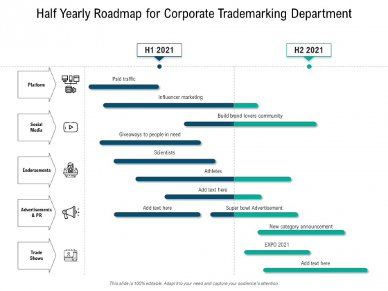 Half Yearly Roadmap For Corporate Trademarking Department Demonstration