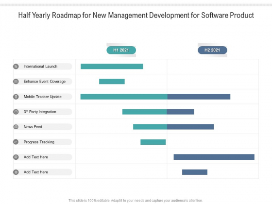 Half Yearly Roadmap For New Management Development For Software Product Themes