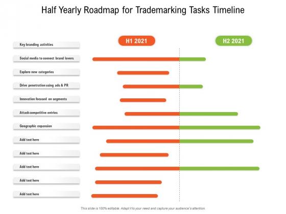 Half Yearly Roadmap For Trademarking Tasks Timeline Brochure