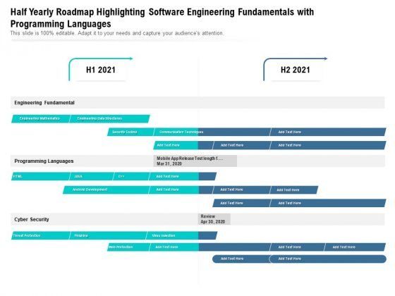 Half Yearly Roadmap Highlighting Software Engineering Fundamentals With Programming Languages Background