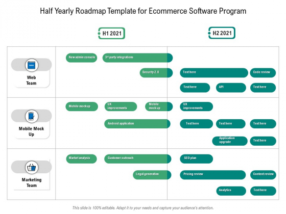 Half Yearly Roadmap Template For Ecommerce Software Program Template