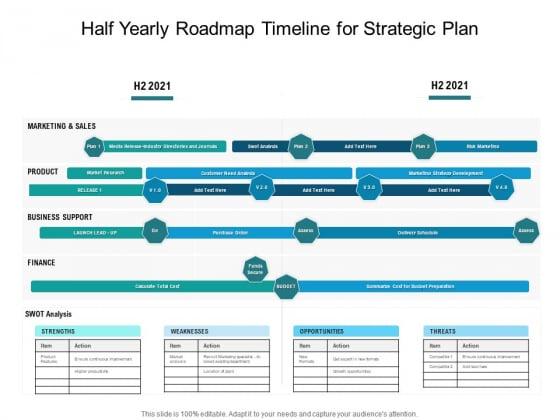 Half Yearly Roadmap Timeline For Strategic Plan Ideas