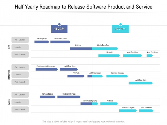 Half Yearly Roadmap To Release Software Product And Service Mockup