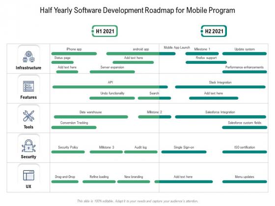 Half Yearly Software Development Roadmap For Mobile Program Formats