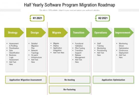 Half Yearly Software Program Migration Roadmap Brochure
