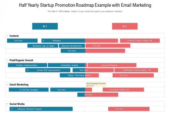 Half Yearly Startup Promotion Roadmap Example With Email Marketing Icons