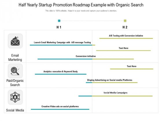 Half Yearly Startup Promotion Roadmap Example With Organic Search Clipart